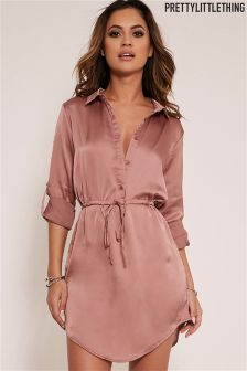 PrettyLittleThing Tie Waist Satin Shirt Dress