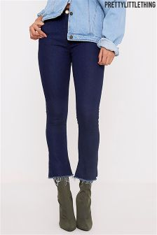 PrettyLittleThing Dark Wash Cropped Kickflare Jeans