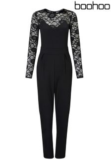 Boohoo Petite Long Sleeve Jumpsuit