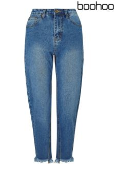 Boohoo Petite Raw Hem Straight Cut Jeans