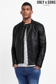 Only & Sons PU Café Racer Jacket