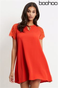 Boohoo Lace Cap Sleeves Dress