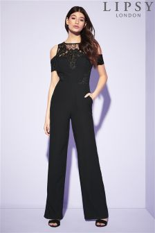 Lipsy Petite Lace Cold Shoulder Jumpsuit