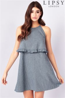 Lipsy Stripe Ruffle Double Layer Dress