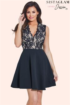 Jessica Wright Plunge Lace Mini Skater Dress
