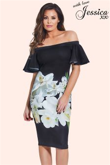 Jessica Wright Floral Frill Bardot Midi Dress