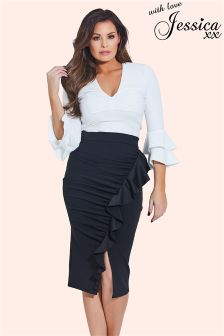 Jessica Wright Ruffle Pencil Skirt