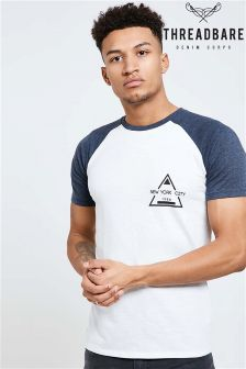 Threadbare Contrast Raglan Print T-Shirt