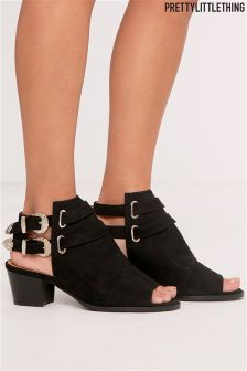 PrettyLittleThing Tallia Black Open Toe Buckle Boot