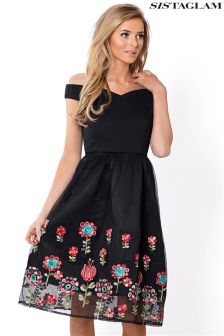 Sistaglam Embroidered Mesh Bardot Dress