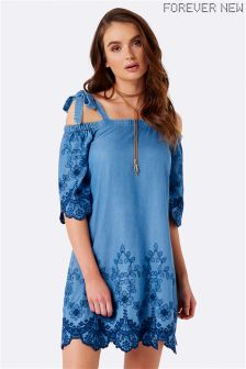 Forever New Cold Shoulder Embroidered Dress