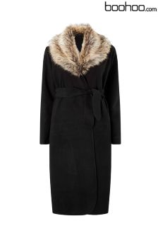 Boohoo Plus Shawl Faux Fur Collar Maxi Coat