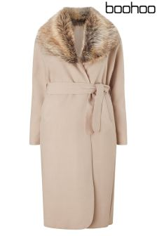Boohoo Plus Faux Fur Maxi Coat