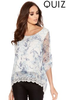 Quiz Mesh Floral Over Print Lace Hem Top