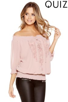 Quiz Georgette Bardot Tie Front Applique Detail Top