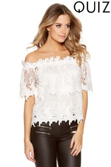 Quiz Crochet Cap Sleeve Bardot Top
