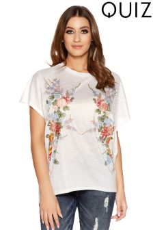 Quiz Floral Embroidered Tail Hem Top