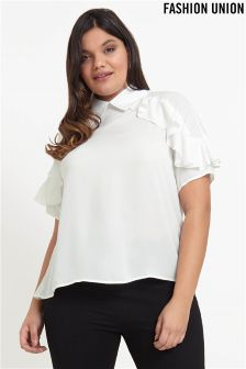 Fashion Union Curve Shirt With Frill Detail