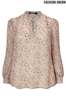 Fashion Union Curve Printed Blouse