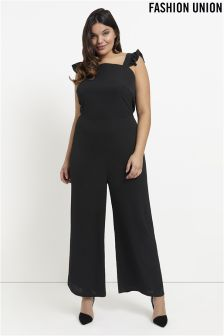 Fashion Union Curve Jumpsuit With Frill Sleeves