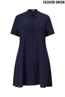 Fashion Union Curve Shirt Dress With Bow Tie Neck
