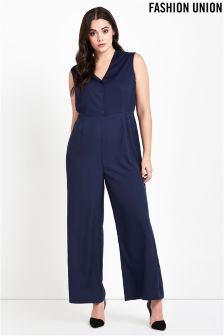 Fashion Union Curve Plunge Neck Jumpsuit