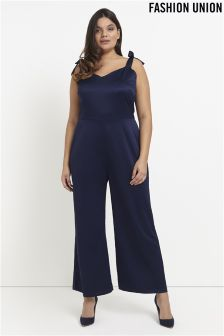 Fashion Union Curve Satin Jumpsuit