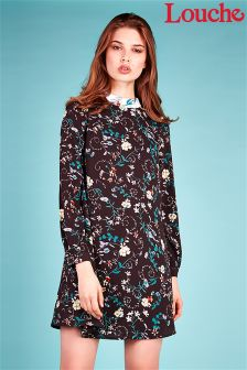 Louche Floral Contrast Collar Dress