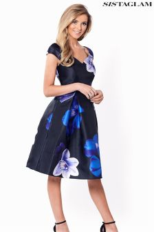 Sistaglam Floral Print Bardot Dress