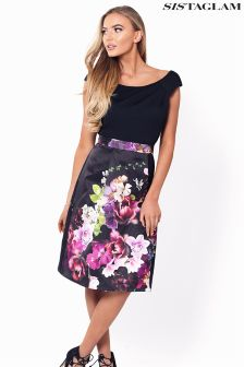 Sistaglam Floral Print Prom Dress