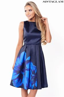 Sistaglam Satin Floral Prom Dress