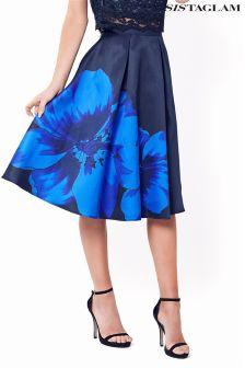 Sistaglam Floral Satin Midi Skirt