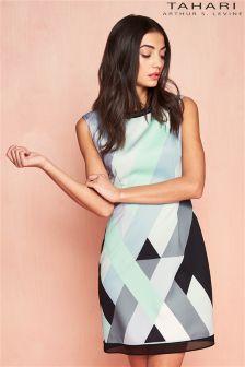 Tahari Retro Geometric Print Mini Dress