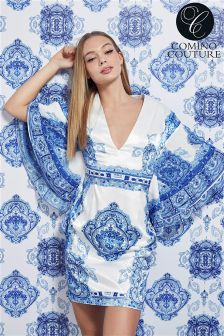 Comino Couture Printed V-neck Kimono Sleeve Dress