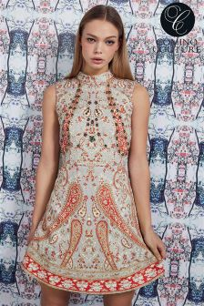 Comino Couture Print Halter Neck Skater Dress