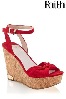 Faith Red Cork Wedges