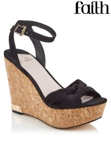 Faith Black Cork Wedges