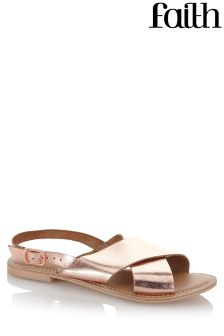 Faith Leather Cross Over Detailed Sandals