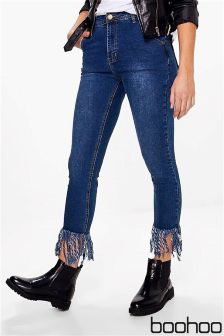 Boohoo Frayed Hem Cropped Jeans