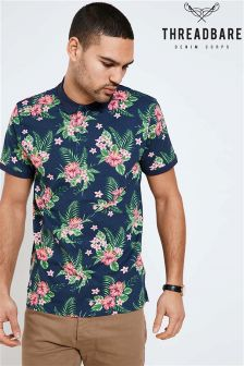 Threadbare Floral Print Polo Shirt