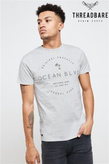 Threadbare Chest Print Crew T-Shirt