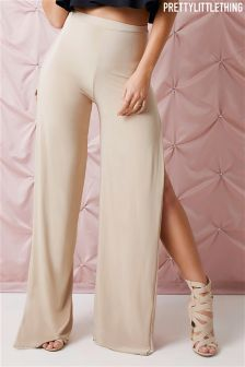 PrettyLittleThing Side Split Slinky Trousers