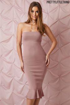 PrettyLittleThing Frill Hem Bandeau Midi Dress