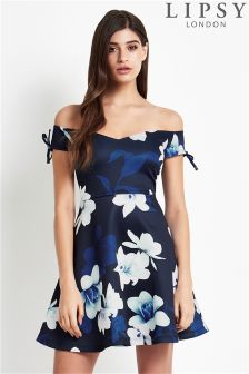 Lipsy Bardot Printed Skater Dress