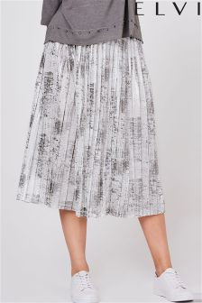 Elvi Curve Metallic Pleated Skirt