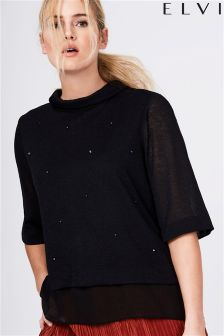 Elvi Knitted Sheer Hem Top