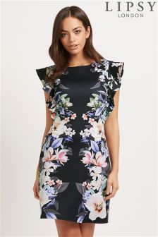 Lipsy Ruffle Sleeve Floral Printed Dress