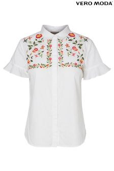 Vero Moda Embroidered Frill Sleeve Shirt