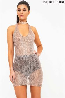 PrettyLittleThing Metallic Halterneck Mini Dress