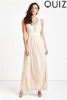 Quiz Embellished Pleated Maxi Dress